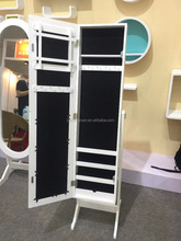 Wholesale Standing Display jewelry mirror cabinet armoire in white