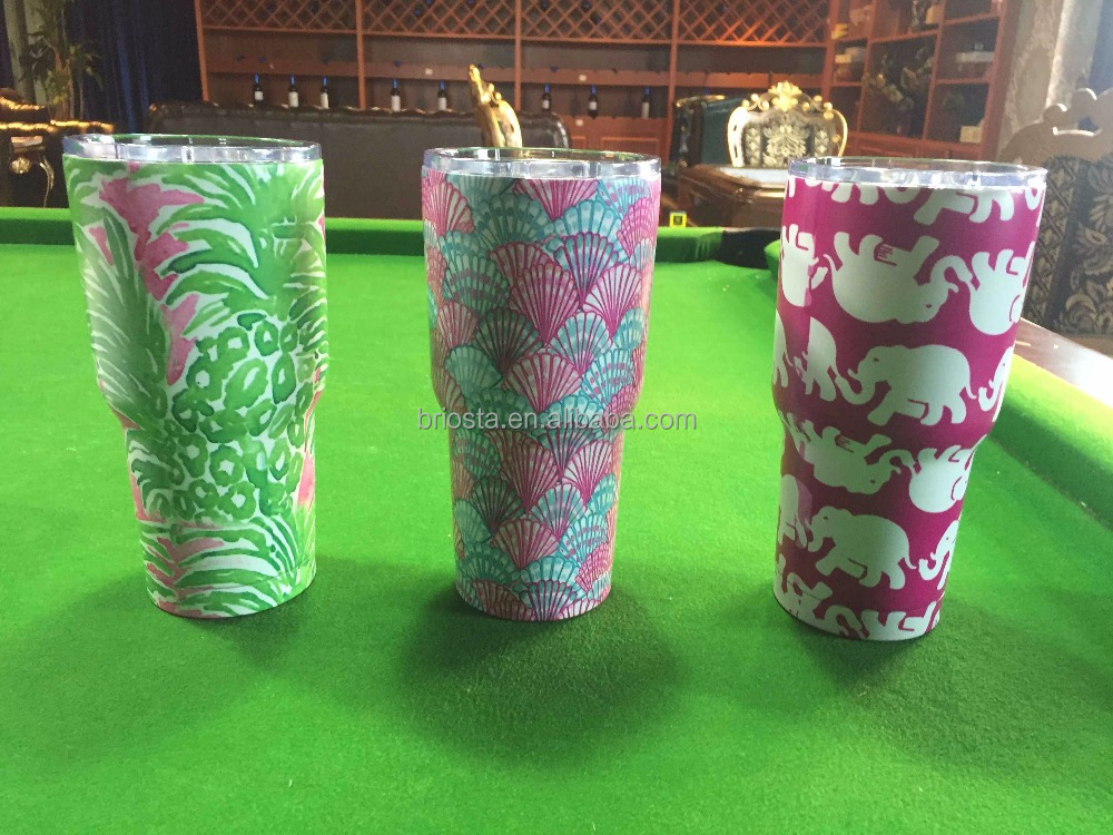 Personalized Engraved Lilly Pulitzer Tumblers With Slidding Lids