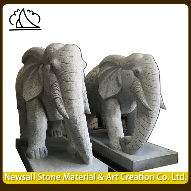 Natural Surface Hand Carved Garden Marble Elephant Statues