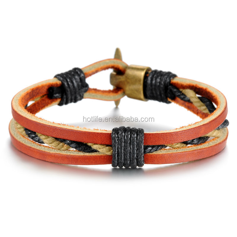 2015 latest new design hand made rope bracelet anchor bracelet men