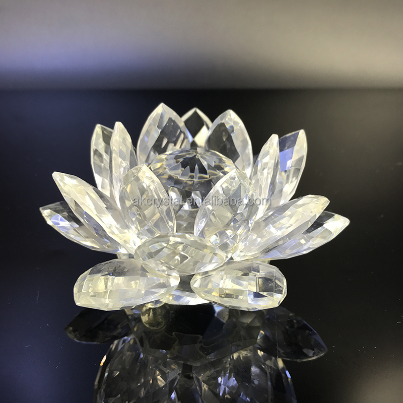 Wedding gifts for guests home decoration clear crystal glass lotus flower