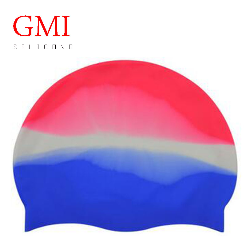 2017 colorful custom printing premium waterproof swim cap 100% silicone for long hair
