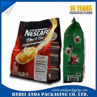 Stand up packaging zip locked bag/ aluminum foil coffee bag