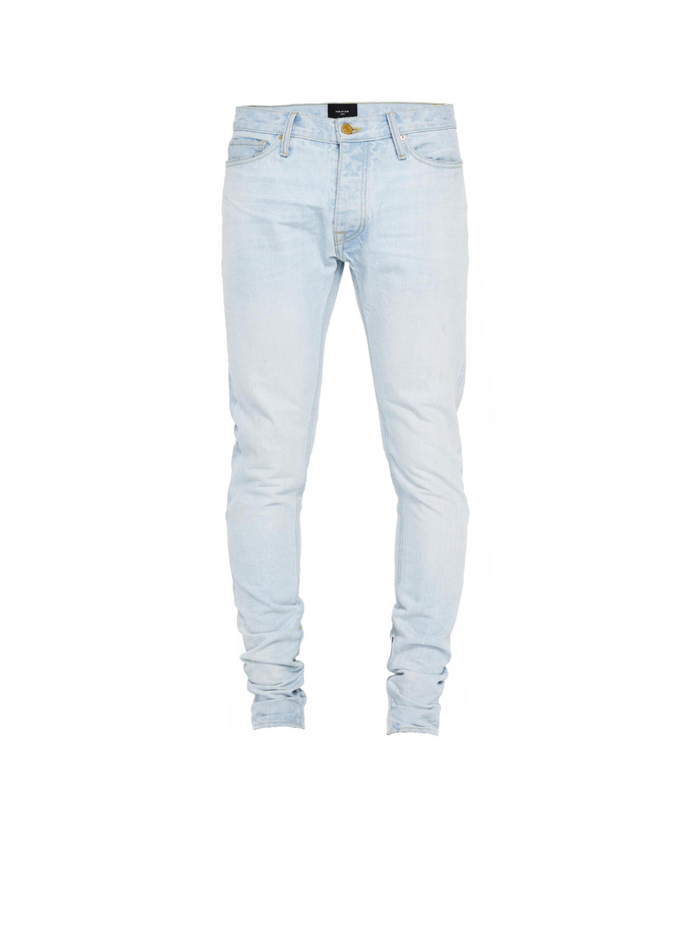 Fear of god skinny jeans trousers pants custom fashion wholesale light blue men jeans