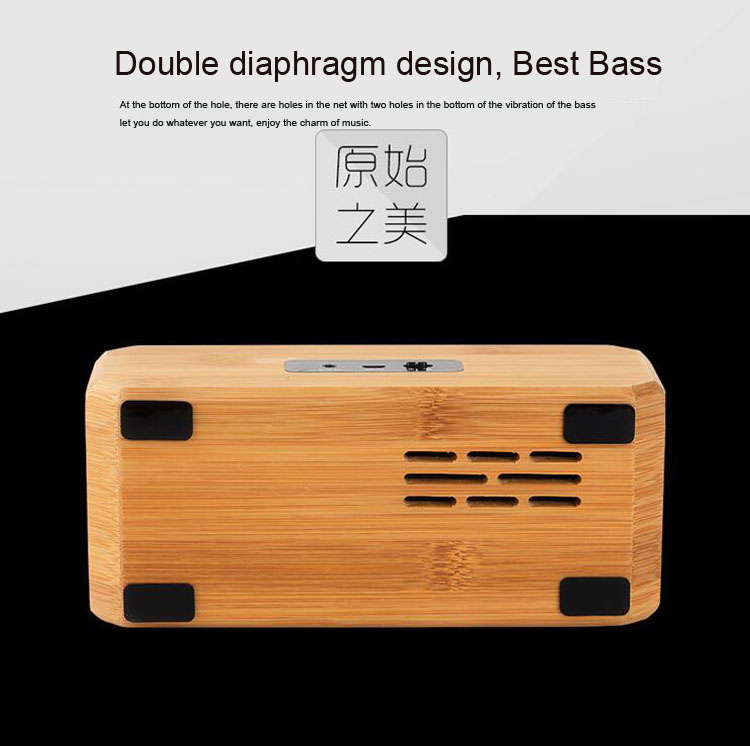 2017 new patent indoor and outdoor natural bamboo wooden NFC wireless bluetooth 4.0 stereo speaker
