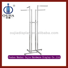 4 Way stainless steel shop hanging display/clothing store display stand/clothing shop display design