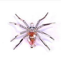 WSF0004 Rose Champagne Gold Big Ruby Crystal Rhinestone Belly Spider Insect Costume Spider Brooch