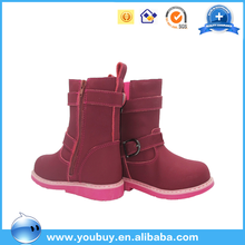 Import italian top leather girls red high heel boots footwear shoes for children