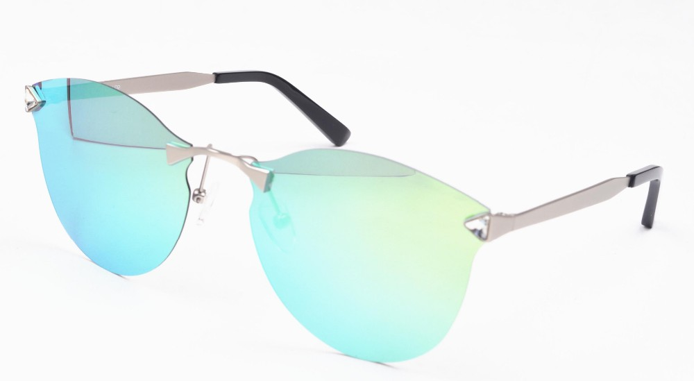 Rimless sunglasses fashion with diamond and TAC polarised blue mirror revo lens