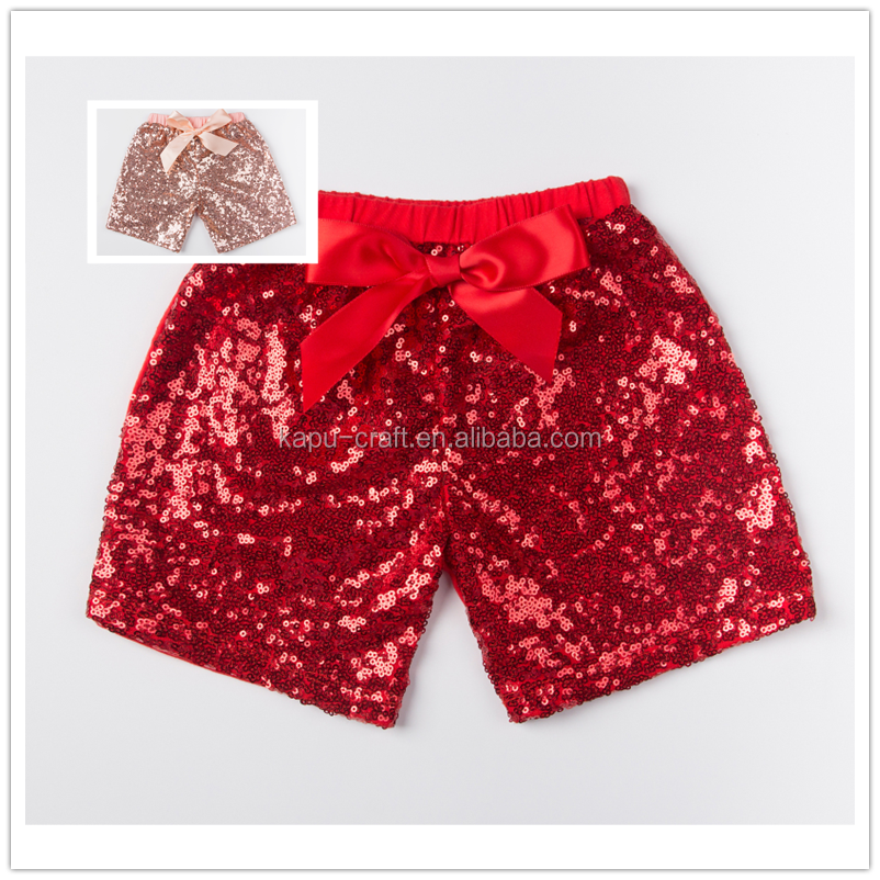 Wholesale Children's Boutique Clothing infant Sequin Gold Shorts Toddler Shorts