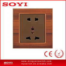wooden design mechanical electric wall switch multi-function 5 pin socket