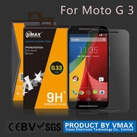 Factory Price!0.33 mm 0.26mm 9H clear thin tempered glass screen protector for Motorola moto g 3rd