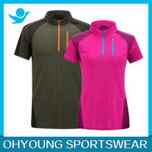 Different colors couple brand polo shirts , custom made zip polo t-shirts oem services