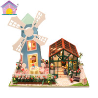 Manufacture For Dollhouse European Style Wooden Dollhouse Miniature Furniture, Diy Miniature Wooden Dollhouse