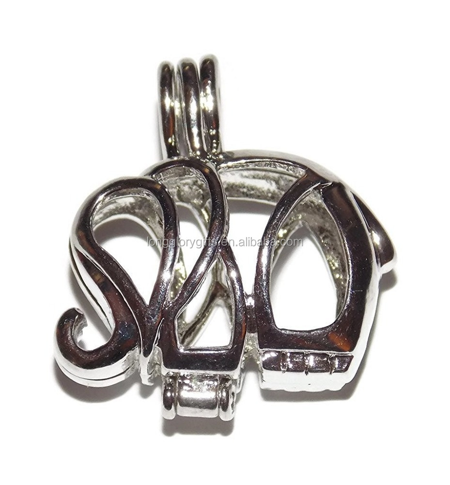 Elephant pendant Cage Hollow Silver Plated Cage Pendant - Add your own Add your own Pearls, Stones, Rock to Cage
