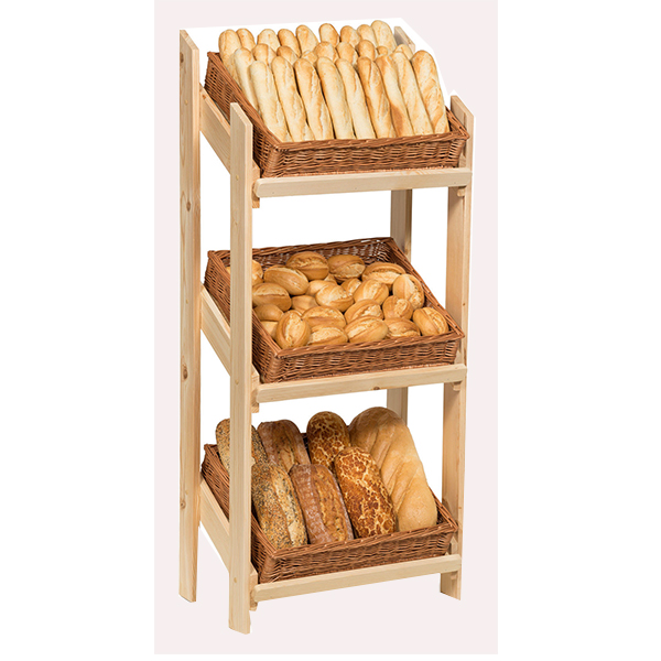 Customized 3Tiers Wooden Bread Display Floor Stand with Willow Baskets