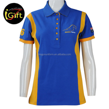 Women sport polo shirt design Australia hight quality 100 cotton fabric yellow blue color block contrast polo T shirt