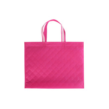 Fashion customized full color embossed non woven shopping bag with ribbon handle