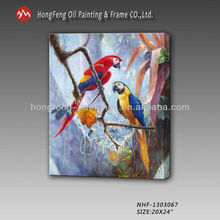 Animal oil painting of parrots online sales