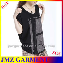hot sale wide balck t-shirt with beading for women