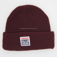 acrylic promotional sewed woven label knitted beanie hat