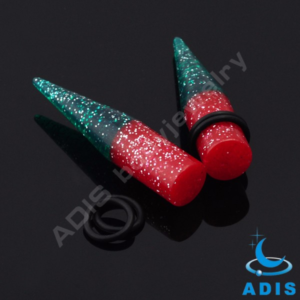 Factory direct supply cheap acrylic glitter powder ear tapers piercings jewelry