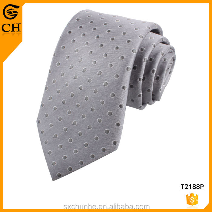 Shengzhou Cheap Fancy Gray Dot Dress Neck Ties for Men Suit