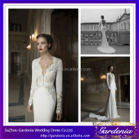 Latest 2014 New Designers High Quality Lace Appliqued Simple Chiffon Long Sleeve V-neck Open Back Wedding Dress (ZX791)