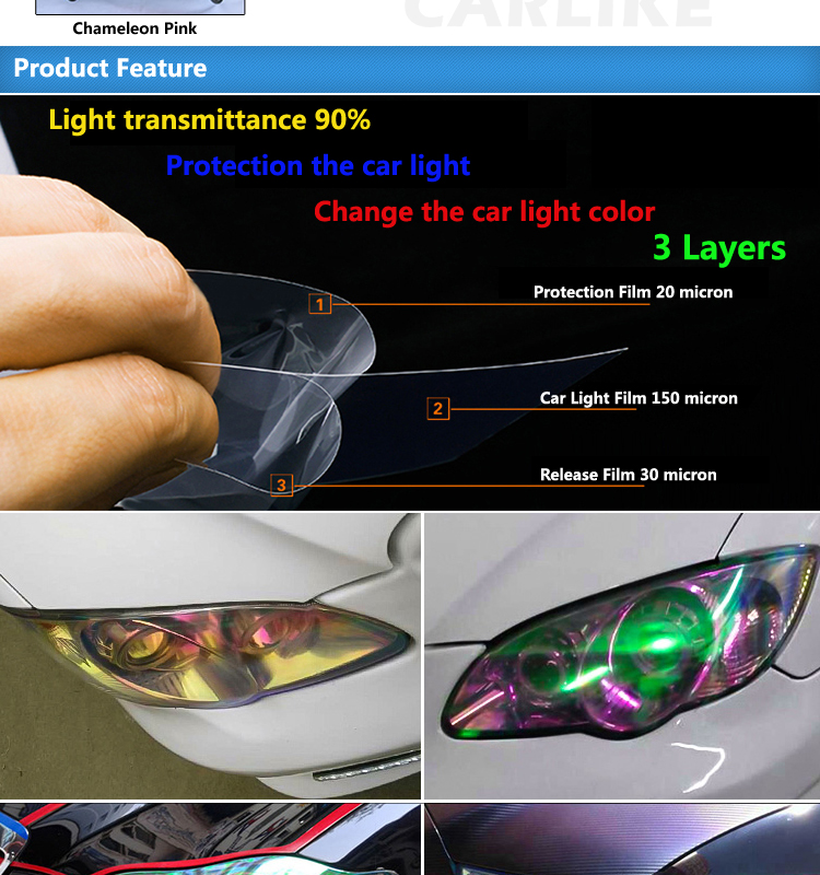 3 Layers Color Change Chameleon Headlight Tinted Vinyl Car Film