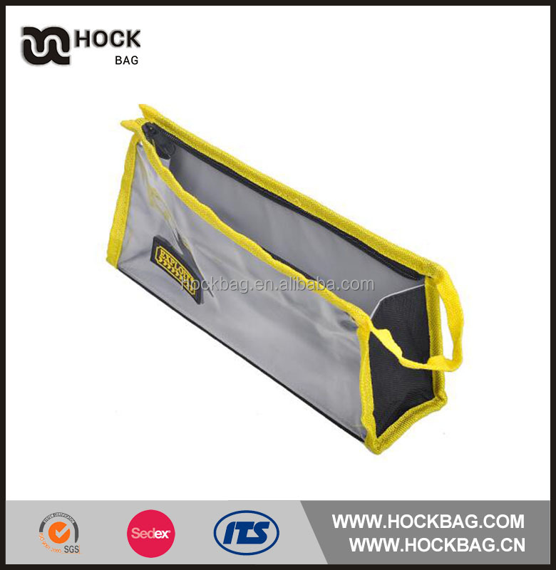 PVC stitch polyester triangle transparent with easy carry handle strap small tool bag