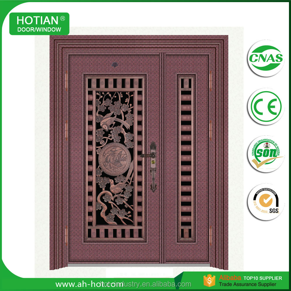 Advanced Machines Exterior Double Metal Door Entrance Imitate Copper Door Cheap Mother and Son Door