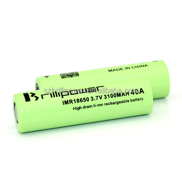 18650 3.7v 3100mah rechargeable battery brillipower imr18650 3100mah 40A high drain battery