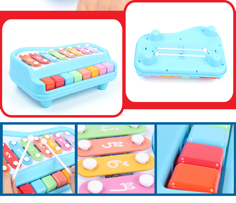 Intellectual development toy musical learning plastic 8 keys lovely xylophone music toy for kids