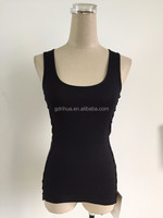 32s high quality 2x2 rib scoop neck side lace applique ladies tank top