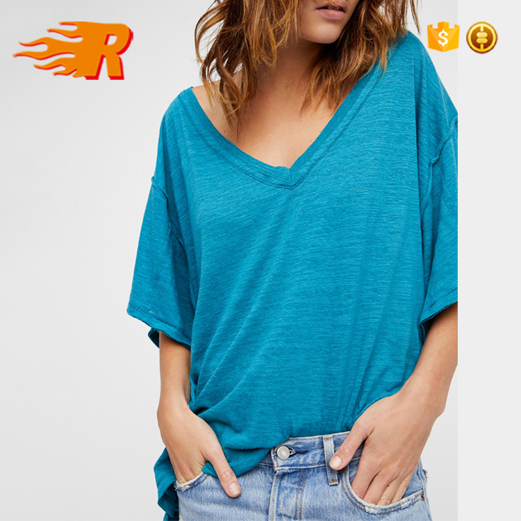 Wholesale Custom Women Casual Plain Drop Should Oversized Blank Tshirt