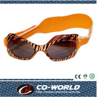 Orange tiger pattern baby glasses, safe and comfortable headband design, quality assurance Made in Taiwan