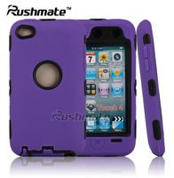 Hybrid Combo Cover Mobile Phone Accessories For Ipod Touch 4 PC+Silicone Case