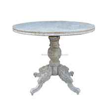 French style round shape reclaimed elm wood dining table solid wood rustic furniture