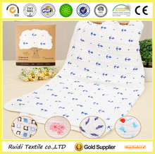 custom design printed 3 layers comfortable gauze cotton baby bath sheet