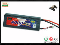 4000mah 2s2p RC lipo racing car battery with strong hard case