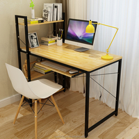 Wood computer desktop with metal frame home office furniture study writing table desk organizer shelf