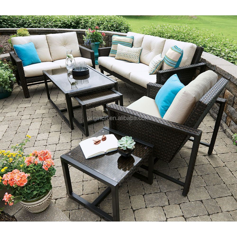 Unique Patio Furniture With Nesting Accent Pull Out Tables And 3 Person Low Price Sofa Set Buy