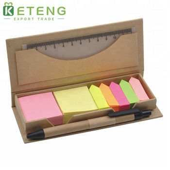High Quality Small Kraft Cover Sticky Note Notepad with a Pen