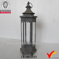 rustic vintage iron glass decorative metal hanging lantern stand