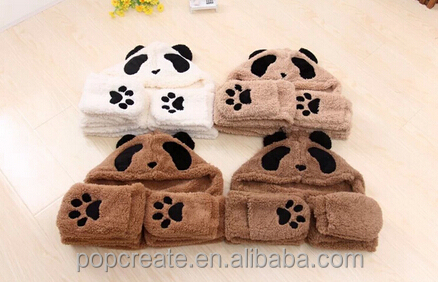earmuff cartoon panda hat scarf and gloves set