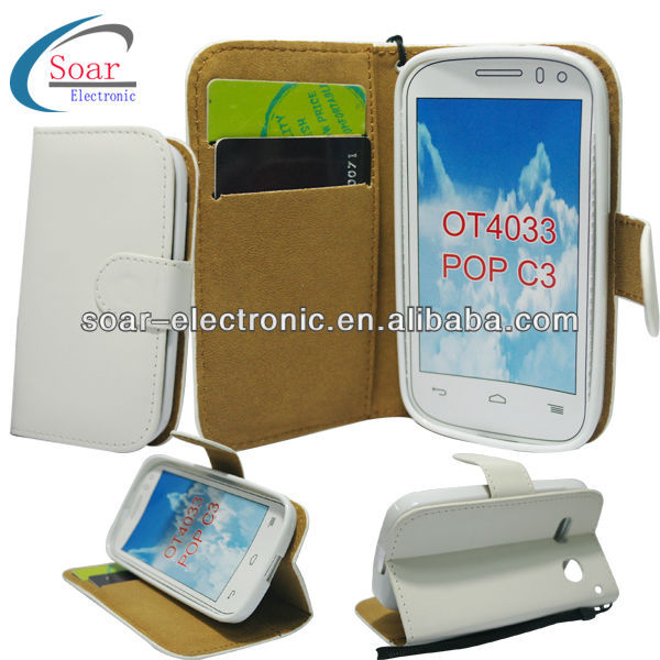 White walleat leather for alcatel one touch pop c3 case, For digicel DL700
