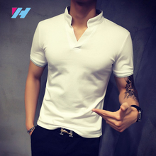 2017New fashion V-neck t-shirt polo garments Casual Loose Breathable Fitness Men polo shirt
