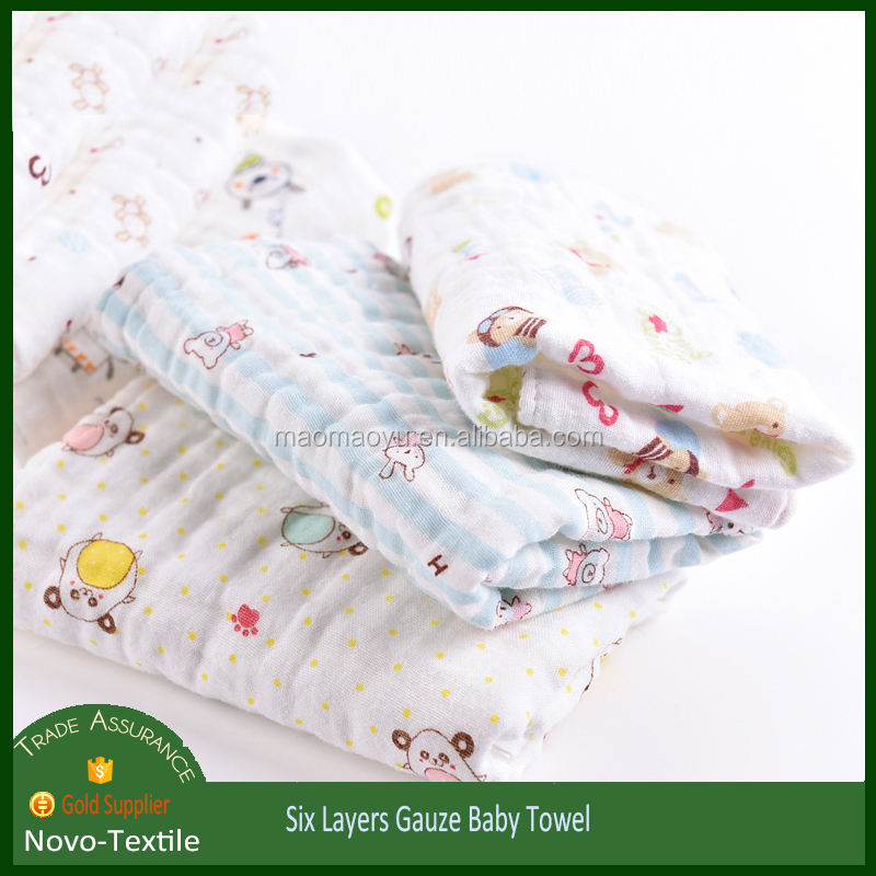 six layers muslin baby face cloth with print pattern