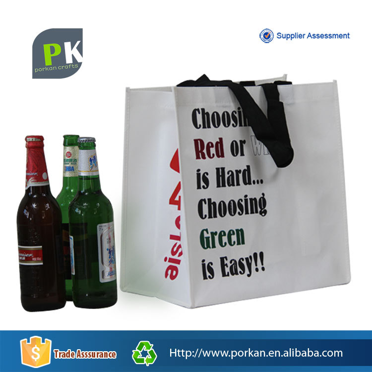 Custom Non Woven Wine Bottle Gift Bag without Lamination
