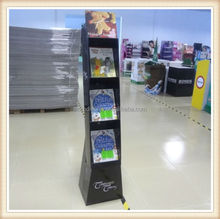 Books corrugated cardboard pop counter display shelf/ paper floor display stand with hooks for socks and snacks